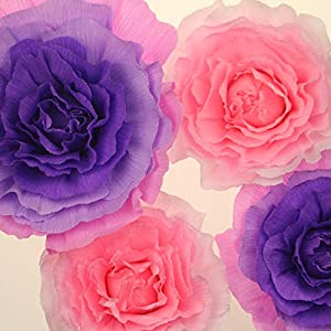 BQUQO Artificial Flowers Tissue Craft Paper flower for Indoor Living Room Decor Art Classic Giant Flower Wedding Decoration 18