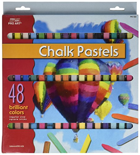 48 Soft Drawing Chalk Pastels in Brilliant Assorted (Assorted Chalk)
