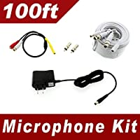 [100ft] Microphone Audio Kit for Samsung SDH-C85100BF, SDR-B85300, SDC-89440BF system