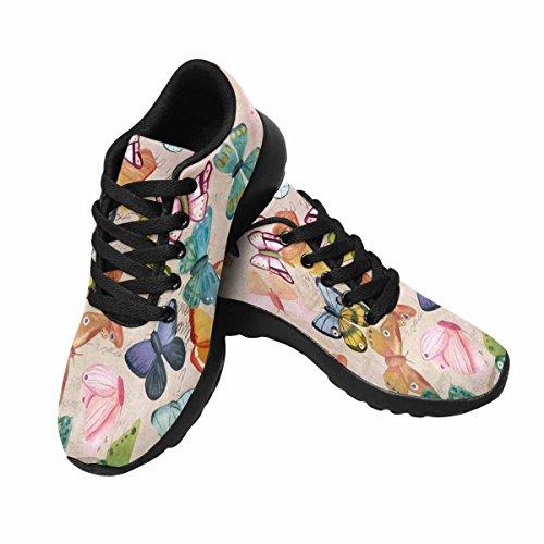 Interessante Donna Da Jogging Da Corsa Sneaker Leggero Go Easy Walking Comfort Sportivo Scarpe Da Ginnastica Farfalle Su Frammenti Di Lettere E Vecchie Trame Di Carta