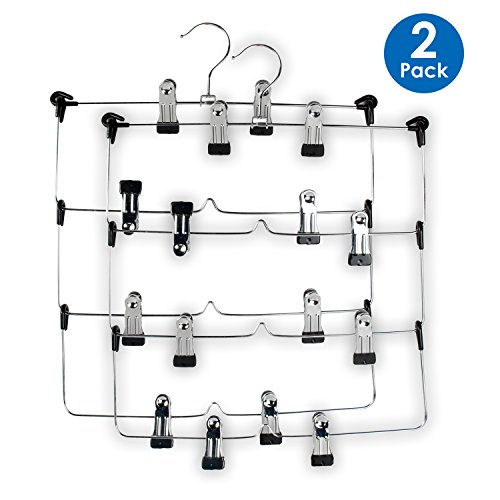 LOHAS Home 4 Tier Skirt Hangers Pants Hangers Stainless Steel Fold up Space Saving Hangers (2-Pieces)