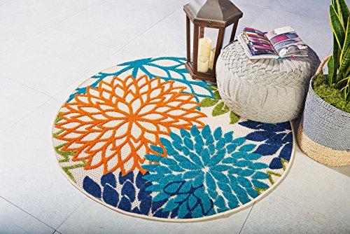 Nourison Aloha ALH05 Indoor/Outdoor Floral Blue Multicolor 4' x ROUND Area Rug  (4'xROUND) ()