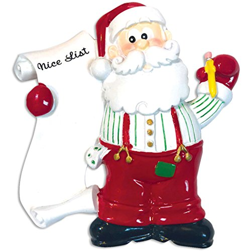 - Personalized Santa's List Christmas Tree Ornament 2019 - Papa Claus Red Long Family Members Friend Secret Names Wish-List Grand-Kids Children Love Naughty or Nice Gift Year - Free Customization