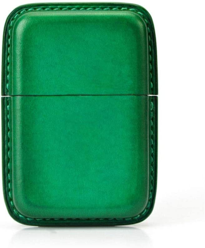 Fengshangshanghang 革手作りタバコケース、14パックソフトでスリムクリエイティブ、ブラック、グリーン,洗練されたポータブル (Color : Green, Size : 10.5*8*3cm)