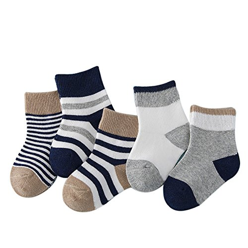 Lalago Baby Cute Organic Cotton Socks for Girls Boys Natural Color 5-Pack (Navy blue)
