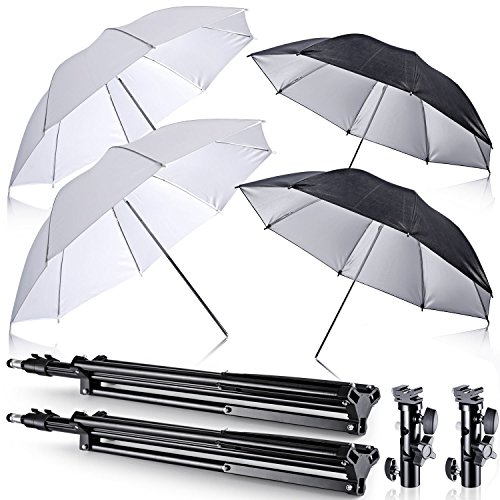 Neewer Off Camera Double Speedlight Flash ShoeMount Swivel Soft Umbrella Kit for Canon 430EX II,580EX II,600EX-RT,Nikon SB600 SB800 SB900,Yongnuo YN 560,YN 565,Neewer TT560,TT680,TT850,TT860 (Flash Shoe Umbrella Kit)