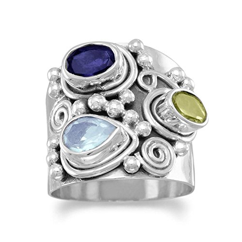 Etruscan Wide Band Three Stone Iolite, Peridot, Blue Topaz Sterling Silver Ring