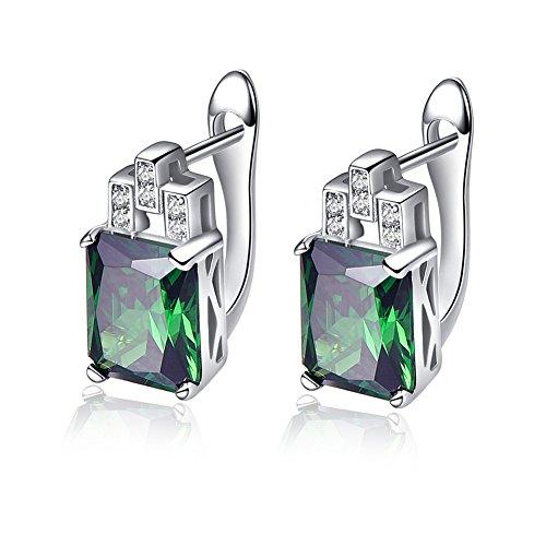 BONLAVIE Women's 10.75ct Created Emerald Cut Green Emerald CZ 925 Sterling Silver Lever Back Earrings