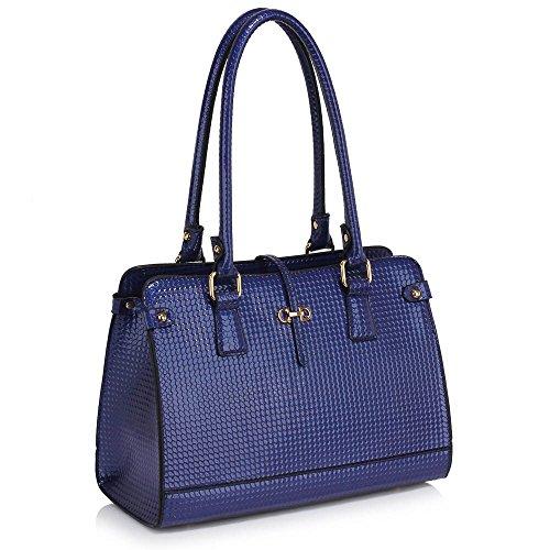 Designer 1 Size leather Navy Handle Medium Shoulder Top Handbag Patterned Design Look Ladies Bag Patent Luxury Women qRpt1nZw
