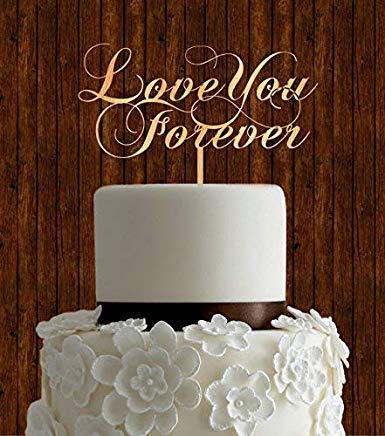 DWYHH Rustic Wood Wedding Cake Toppers Love You Forever,Wedding Decoration Cake Topper,Wedding Gifts,Engagement Gifts