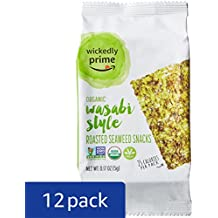Wickedly Prime Organic Roasted Seaweed Snacks, Wasabi Style, 0.17 Ounce (Pack of 12)