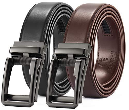 Men's Belt Gift Set,Click Ratchet Belt Dress with Sliding Buckle 1 3/8