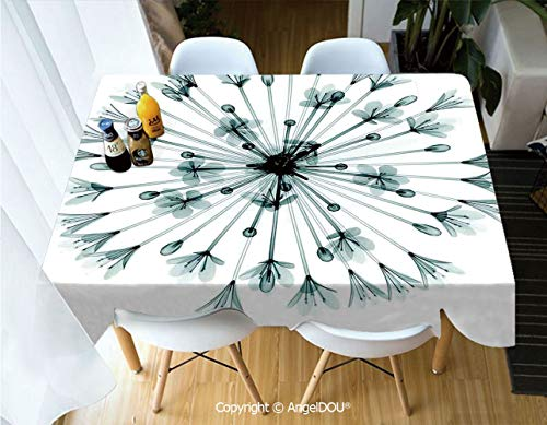 AngelDOU Waterproof Stain Resistant Lightweight Table Cover Pattern of Bell Agapanthus Flower Geometric Design of Nature Inner Vision Art for Camping Picnic Rectangular Table Cloth,W55xL82(inch)