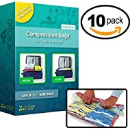 New Acrodo Space Saver Compression Bags 10-pack for Packing and Storage - No Vacuum Rolling Ziplock for Clothing, Travel, Organizing, Luggage, and Suitcase
