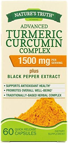 Nature's Truth Advanced Turmeric Curcumin Complex 1500 mg per Serving - 60 Capsules, Pack of 4