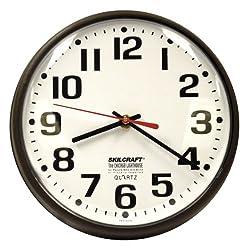 Ability One 9-1/5 Round Wall Clock Arabic, Brown High Impact Polystyrene Frame 6645-00-514-3523 - 1 Each