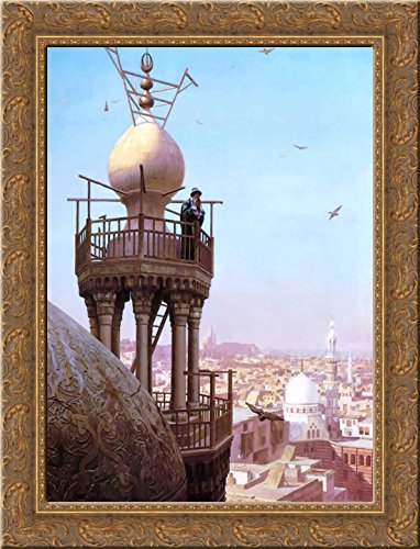 A Muezzin Calling from the Top of a Minaret the Faithful to Prayer 24x18 Gold Ornate Wood Framed Canvas Art by Jean-Leon Gerome