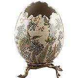 Home decor. Egg Sculpture With Bronze Pedestal. Dimension: 8 x 8 x 10. Pattern: Moss Fern.