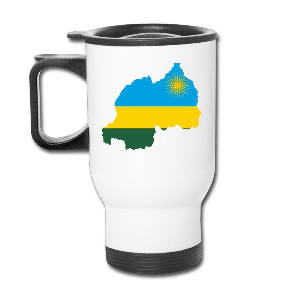 12 Oz Travel Mug - Flag Map Of Rwanda Mug