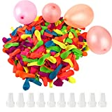 FEPITO 1500 Pcs Water Balloons with 10 Pcs Hose Nozzles for Summer Water Bomb Fight Games