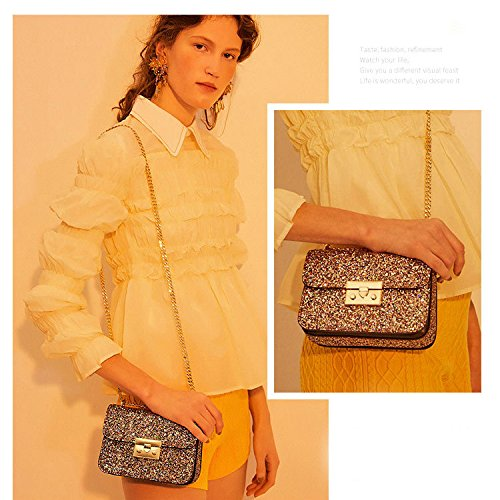 Wild Bag Yxlong Redecorating Square Lock Bag Chain Pearlwhite Bag Shoulder Sequins Small Theft Athensblack Messenger 7q0pxSw7