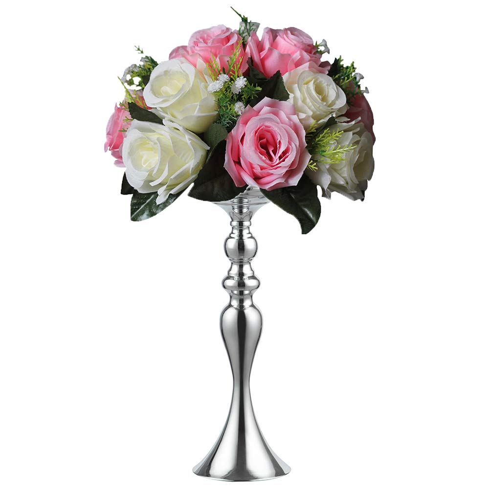 3 Colors!7 Sizes Height Metal Candle Holder Candle Stand Wedding Centerpiece Event Road Lead Flower Rack (38CM, Silver)