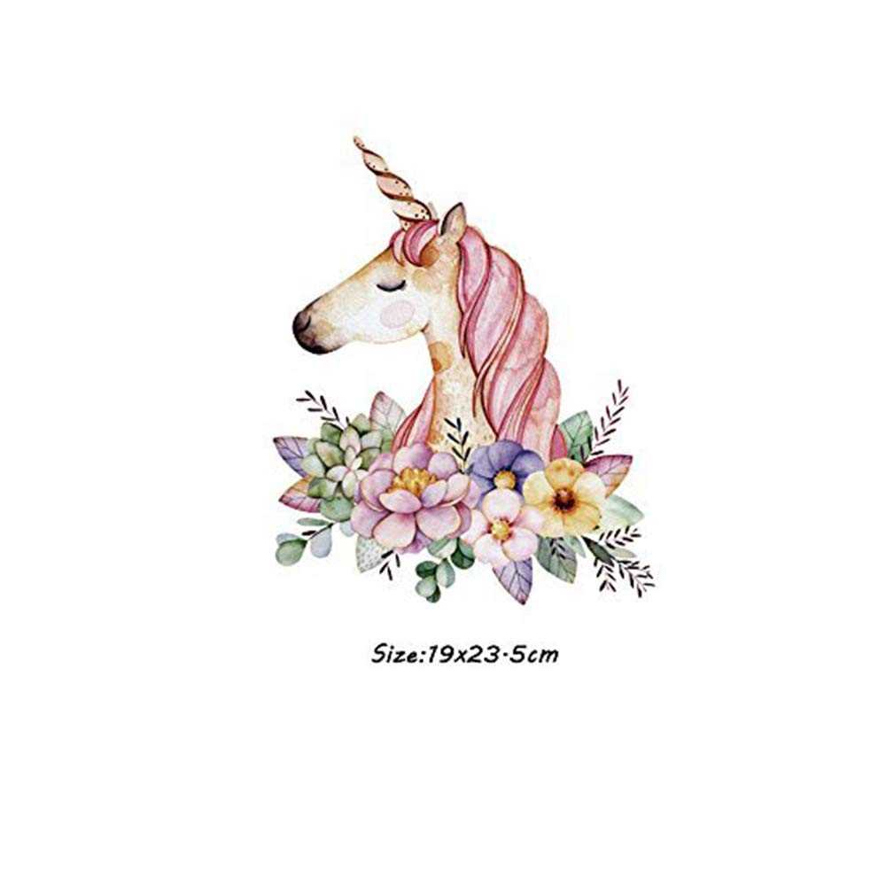 HMQD Unicorn Flower Patches Cartoon Iron On Transfer Stickers Heat Thermal  Transfers For T Shirt Clothes Fabric Badge Applique