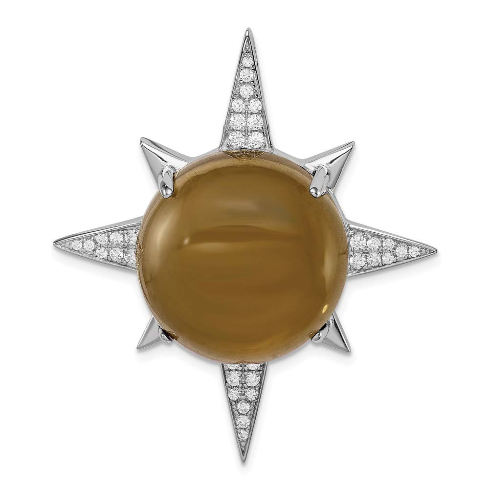 36.4mm x 41.4mm Sonia Jewels Sterling Silver Brown Glass /& CZ Cubic Zirconia Sunburst Chain Slide Pendant