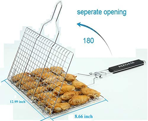 HEFEI Barbecue Mesh Clip BBQ Accessories Basket Grilling Rotisserie Fish Steak Vegetable Holder