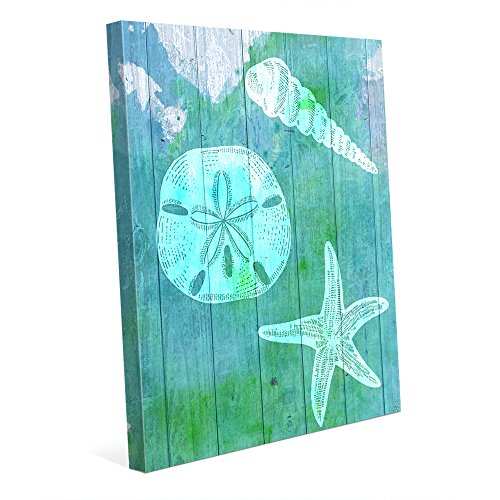 Sea-Treasures-Aqua-Watercolor-Painting-of-Spiral-Seashell-Sand-Dollar-Starfish-in-Blue-Green-for-Nautical-Beach-House-Wall-Art-Print