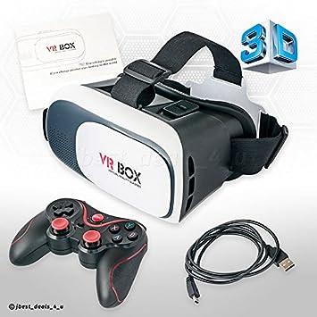 VR Gafas 3d virtual Reality Caja Glasses Headset + Bluetooth Gamepad Controlador de juego en 3d gafas para 3.5 - 6.2 pulgadas de smartphones iOS Android ...