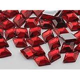 10x7mm Ruby .TM Flat Back Diamond Acrylic Jewels High Quality Pro Grade - 100 Pieces