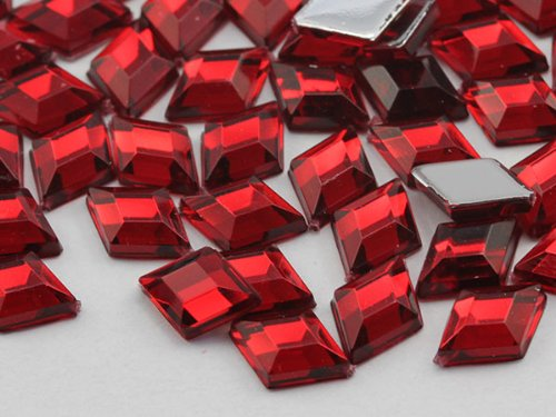 10x7mm Ruby .TM Flat Back Diamond Acrylic Jewels High Quality Pro Grade - 100 Pieces