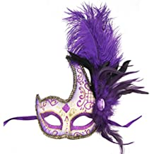 Coddsmz Masquerade Mask Halloween Ball Mask Christmas Costume Party Mask With Feather …
