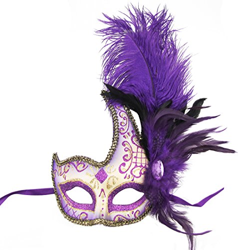 Masquerade Mask Halloween Ball Mask Christmas Costume Party Mask with Feather Purple -