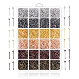 Jewelry Making Pins Supplies - 2400Pcs Jewelry Head Pins and Eye Pins for Charm Beads DIY Making (Eye pin)