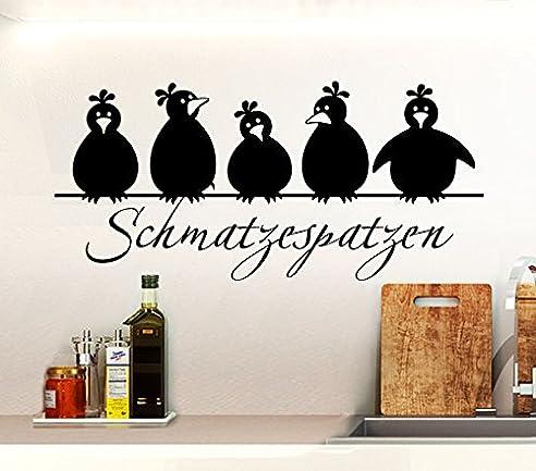 Wandtattoo Günstig G055 Spruch Schmatzespatzen + 5 Vögel Wandaufkleber Wandsticker  Küche Schwarz (BxH)