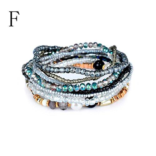 Swyss 1Set Jelly-Colored 1Set Stretch Beaded Bohemian Lady Bracelet Bangle Chic Jewelry New HOT Fashion (F)
