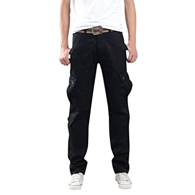 eac1b377c3c7 Photno Men s Cargo Pants Multi Pockets Sports Work Zipper Long Trousers  Plus Size (Size