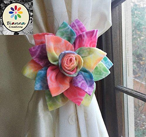 Bianna Creations ONE Dahlia Curtain Tieback, Flower Holdback, Spring Accent Hold back, Floral Home Decor, Nursery Decoration ... (Rainbow) from Bianna Creations