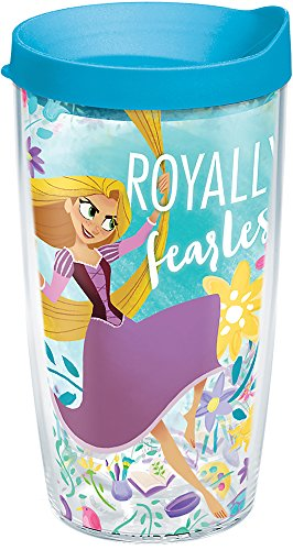 Tervis 1267962 Disney - Tangled Insulated Tumbler with Wrap and Turquoise Lid, 16 oz, Clear