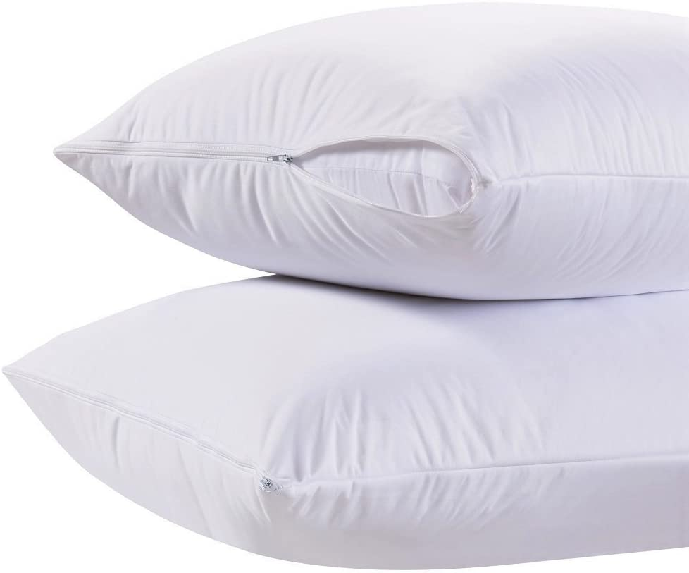 White Classic Zippered Style Pillow case Cover - Luxury Hotel Collection 200 Thread Count, Soft Quiet Zippered Pillow Protectors, King Size, Set of 2: Home & Kitchen