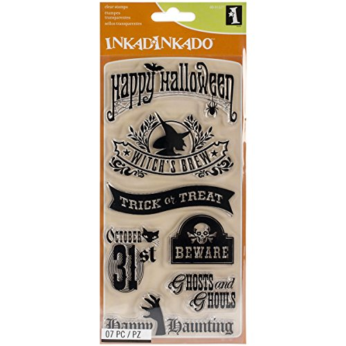 Inkadinkado Halloween Clear Stamps Sheet, Halloween Phrases, 4 by -
