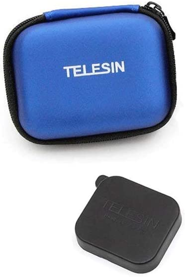 TELESIN PU Cuero Mini Bolsa Impermeable Estuche Protectora de Cámara Funda de Viaje + Tapa de Lente para GoPro Hero 7/(2018)/6/5/4/3, Session, Polaroid/AKASO/Campark/SJCAM/Xiaomi YI (Azul): Amazon.es: Electrónica