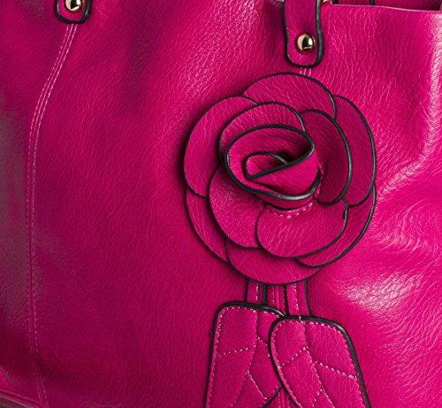 BHBS Bolso Mediano de Hombro para Dama en Imitación Piel con Detalles de Rosa y Hojas en el Frente 36x28x10 cm (LxAxP) Rojo - rojo