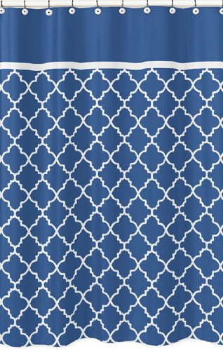 Blue and White Trellis Collection Kids Bathroom Fabric Bath Shower Curtain