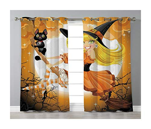 Goods247 Blackout Curtains,Grommets Panels Printed Curtains for Living Room (Set of 2 Panels,55 by 63 Inch Length),Halloween Decorations -