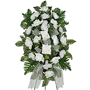 Sympathy Silks White Diamond Rose and Carnations Silk Standard on Easel (ST1631) 3