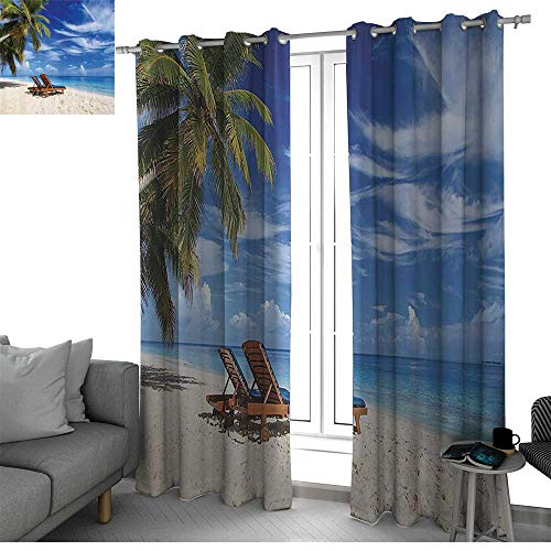 Seaside Decor Collection Sound Asleep Room Curtains Two Beach Chairs on The Tropical Sand Beach Under Palm Trees Picture Print Blackout Curtains for Bedroom Blue Green Ivory W108 x L84 ()