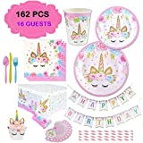 Unicorn Theme Birthday Party Set Supplies Pack - Decorations for Kids Parties - Table Sets for Girls Set of 16 - Paper Plates, Cups, Napkins, Straws, Cupcake Wrappers, Banner andTable Cloth